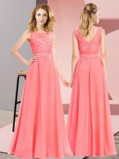 Luxury Scoop Sleeveless Damas Dress Floor Length Beading and Appliques Watermelon Red Chiffon