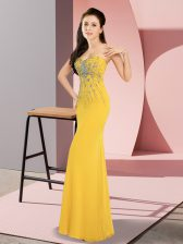 On Sale Gold Sleeveless Floor Length Beading Zipper Prom Party Dress
