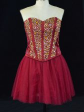Wine Red Sleeveless Mini Length Beading Lace Up Prom Evening Gown