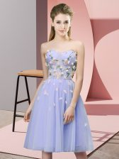 Appliques Court Dresses for Sweet 16 Lavender Lace Up Sleeveless Knee Length