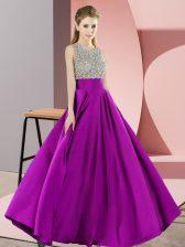 Discount Purple Sleeveless Beading Floor Length
