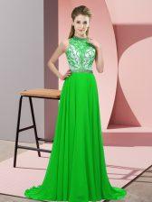 Green Prom Dress Chiffon Brush Train Sleeveless Beading