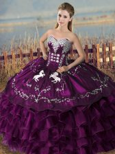 Beautiful Sleeveless Lace Up Floor Length Embroidery and Ruffles Sweet 16 Dress