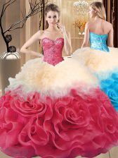 Pretty Sleeveless Lace Up Floor Length Beading and Ruffles Quinceanera Dress