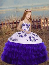 Purple Sleeveless Floor Length Embroidery and Ruffled Layers Lace Up Little Girl Pageant Dress