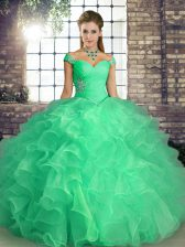 Turquoise Sleeveless Beading and Ruffles Floor Length Quinceanera Dress