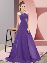 Purple One Shoulder Neckline Beading Homecoming Dress Sleeveless Lace Up
