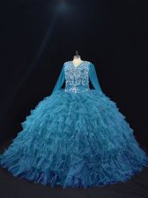 Traditional V-neck Long Sleeves Organza Sweet 16 Dresses Beading and Ruffled Layers Lace Up