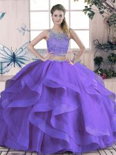 Modern Sleeveless Beading and Ruffles Lace Up 15 Quinceanera Dress