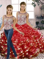 Admirable Red Organza Lace Up Scoop Sleeveless Floor Length Quinceanera Dress Beading and Ruffles