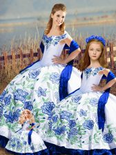 Floor Length Lace Up Ball Gown Prom Dress Blue And White for Sweet 16 and Quinceanera with Embroidery and Ruffles