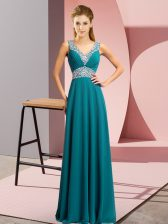 Custom Made Teal Chiffon Lace Up Prom Evening Gown Sleeveless Floor Length Beading