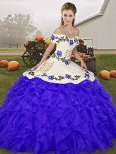 Custom Fit Blue Sleeveless Organza Lace Up 15th Birthday Dress for Military Ball and Sweet 16 and Quinceanera