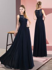 Flare Navy Blue Zipper Prom Dress Lace Sleeveless Floor Length