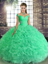 Turquoise Lace Up 15 Quinceanera Dress Beading Sleeveless Floor Length