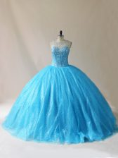 Comfortable Beading and Appliques Vestidos de Quinceanera Baby Blue Lace Up Sleeveless Floor Length Court Train