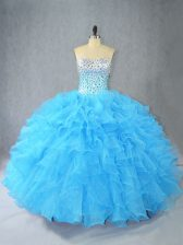 Sleeveless Floor Length Beading and Ruffles Lace Up Quinceanera Gown with Aqua Blue
