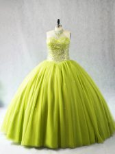 Hot Selling Yellow Green Sleeveless Beading Lace Up Vestidos de Quinceanera