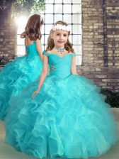 Aqua Blue Ball Gowns Straps Sleeveless Organza High Low Lace Up Beading and Ruffles Little Girls Pageant Gowns