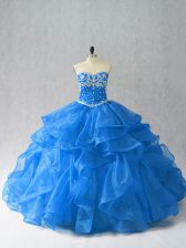Decent Blue Sweetheart Neckline Beading and Ruffles Sweet 16 Quinceanera Dress Sleeveless Lace Up
