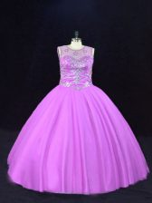 Trendy Sleeveless Tulle Floor Length Lace Up 15 Quinceanera Dress in Lilac with Beading