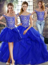 Royal Blue Off The Shoulder Neckline Beading and Ruffles Quinceanera Dress Sleeveless Lace Up