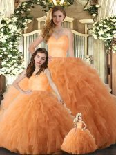 Low Price Orange Tulle Lace Up Quince Ball Gowns Sleeveless Floor Length Ruffles