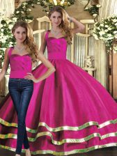 Attractive Fuchsia Sleeveless Ruffled Layers Floor Length Quince Ball Gowns