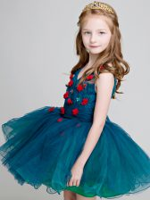 Affordable Teal Sleeveless Lace and Appliques Mini Length Flower Girl Dress