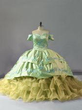 High Class Sleeveless Chapel Train Embroidery and Ruffles Lace Up 15th Birthday Dress