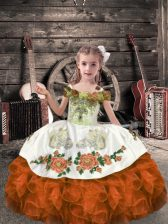 Lovely Sleeveless Organza Floor Length Lace Up Little Girl Pageant Dress in Orange Red with Beading and Embroidery and Ruffles