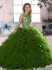 Olive Green Sleeveless Organza Lace Up Quince Ball Gowns for Military Ball and Sweet 16 and Quinceanera
