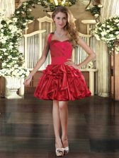Discount Sleeveless Mini Length Ruffles Lace Up with Red