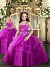Inexpensive Fuchsia Lace Up Little Girls Pageant Dress Wholesale Beading and Ruching Sleeveless Floor Length