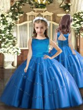 Blue Ball Gowns Scoop Sleeveless Tulle Floor Length Lace Up Beading Kids Formal Wear