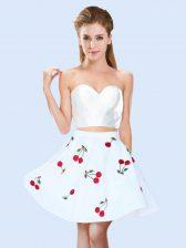 Noble White Sweetheart Neckline Pattern Dama Dress Sleeveless Lace Up