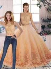 Spectacular Peach 15th Birthday Dress Tulle Sweep Train Sleeveless Lace