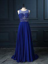Scoop Sleeveless Brush Train Criss Cross Homecoming Dress Royal Blue Chiffon