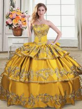 Glorious Floor Length Lace Up Quinceanera Dress Gold for Sweet 16 and Quinceanera with Embroidery and Ruffled Layers