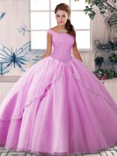 Fashion Lilac Tulle Lace Up Off The Shoulder Sleeveless Sweet 16 Quinceanera Dress Brush Train Beading