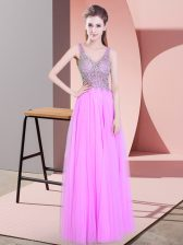 Lilac Prom Party Dress Prom and Party with Beading V-neck Sleeveless Zipper