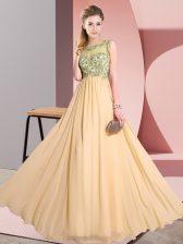 Latest Floor Length Peach Damas Dress Scoop Sleeveless Backless