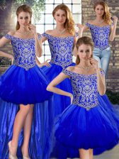 Shining Off The Shoulder Sleeveless Sweet 16 Quinceanera Dress Floor Length Beading and Ruffles Royal Blue Tulle