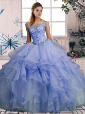 Organza Off The Shoulder Sleeveless Lace Up Beading and Ruffles Vestidos de Quinceanera in Lavender