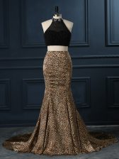 Sexy Beading Prom Party Dress Multi-color Zipper Sleeveless Court Train