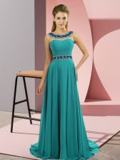 Attractive Teal Prom Party Dress Prom and Party with Beading Scoop Sleeveless Brush Train Zipper
