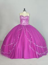 Fancy Sweetheart Sleeveless Tulle Quinceanera Dresses Beading and Sequins Brush Train Lace Up