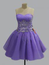 Noble Sweetheart Sleeveless Evening Dress Mini Length Beading Lavender Organza