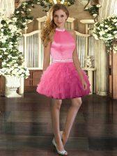 Fashionable Sleeveless Beading and Ruffles Backless Prom Dress