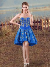 Royal Blue A-line Sweetheart Sleeveless Taffeta High Low Lace Up Embroidery